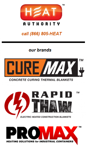 concrete curing and ground thawing heated blankets
